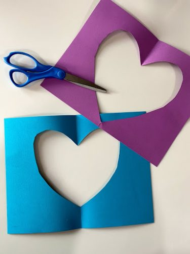 cut out of paper heart for Valentines frame