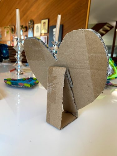completed cardboard heart frame stand