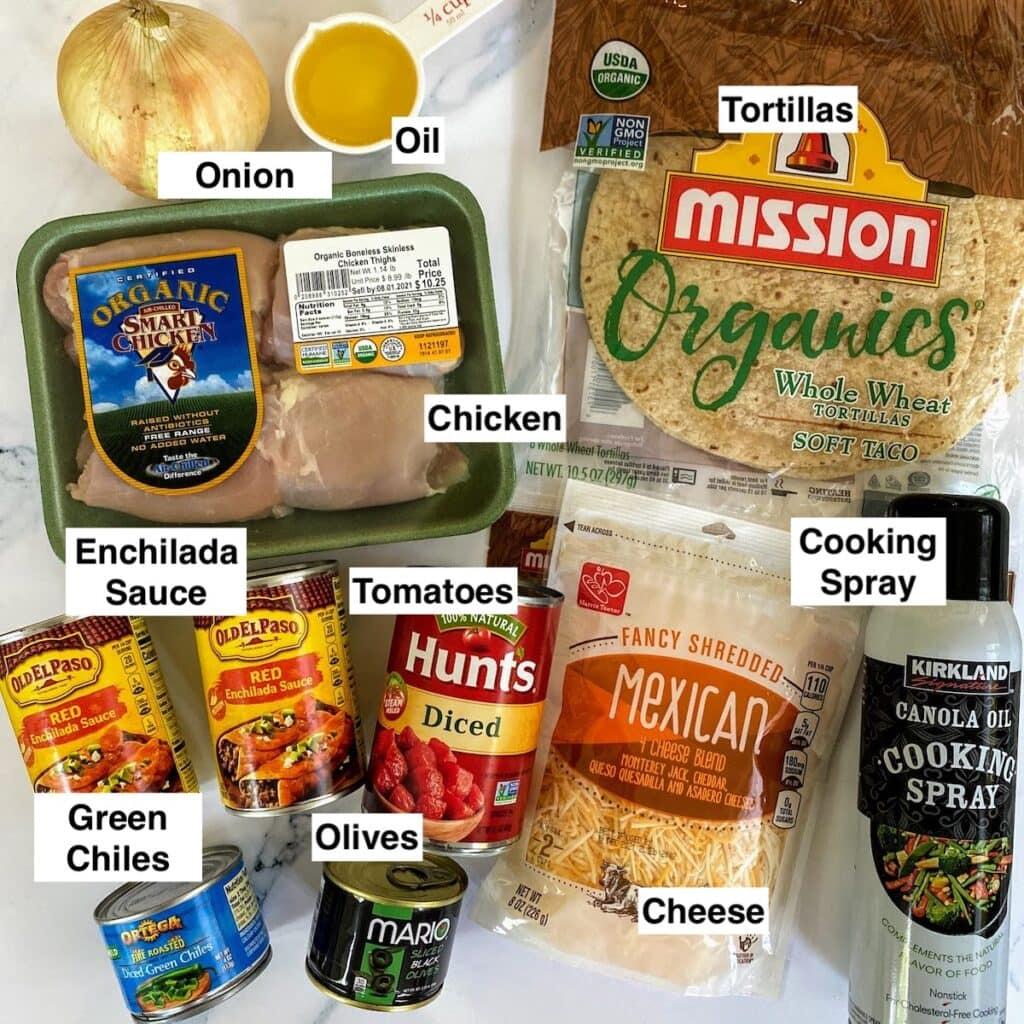 ingredients for enchiladas labeled