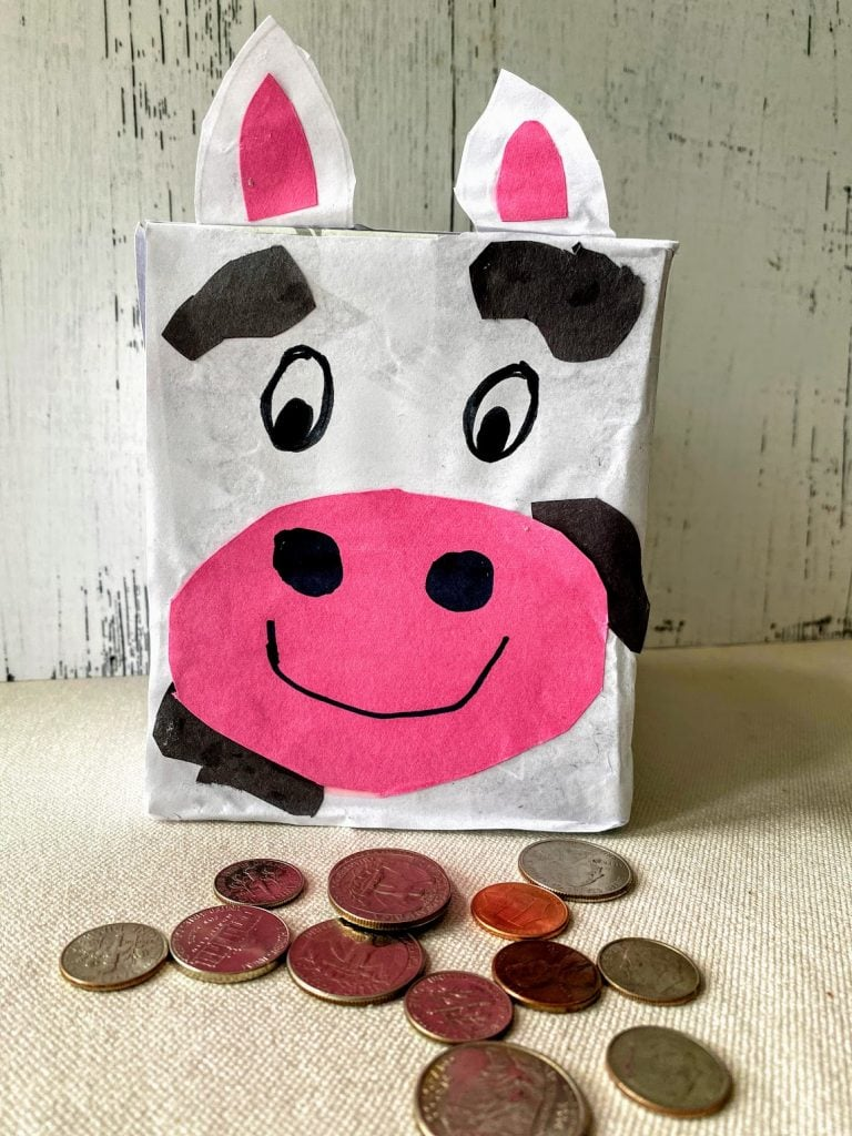 DIY Cow Coin Bank made from a tissue box