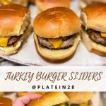 several mini turkey burgers with cheese