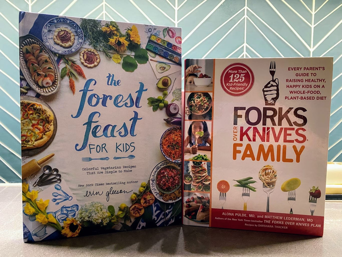 two vegan cookbooks: the forest feast for kids and forks over knives for family