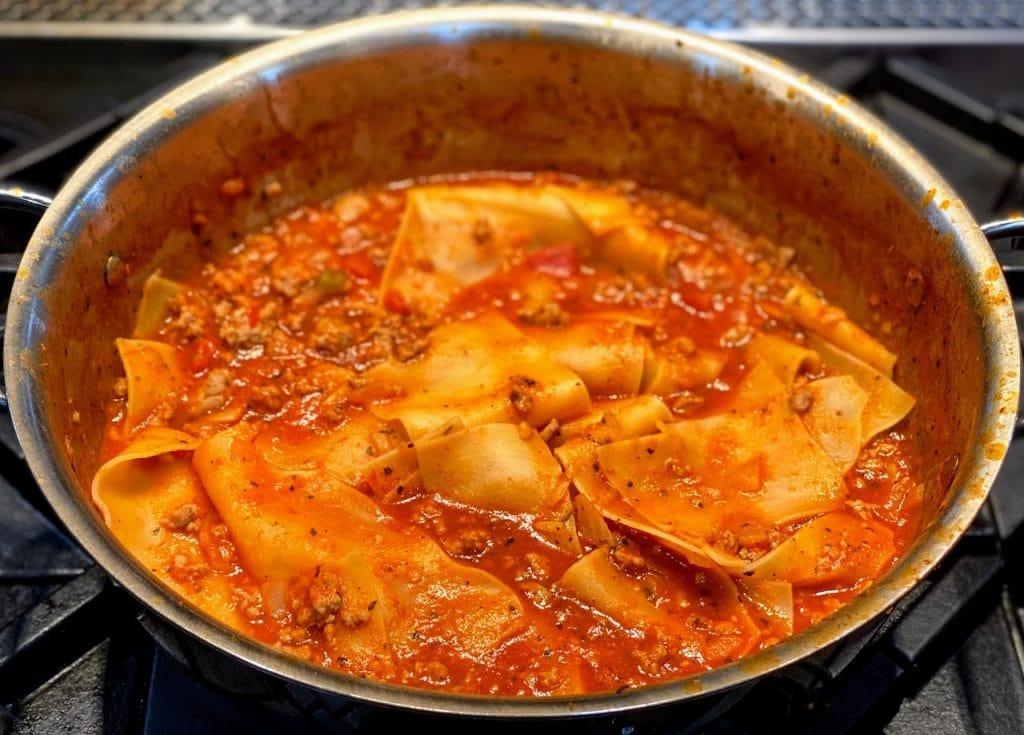 large pot of lasagna soup, ready to eat