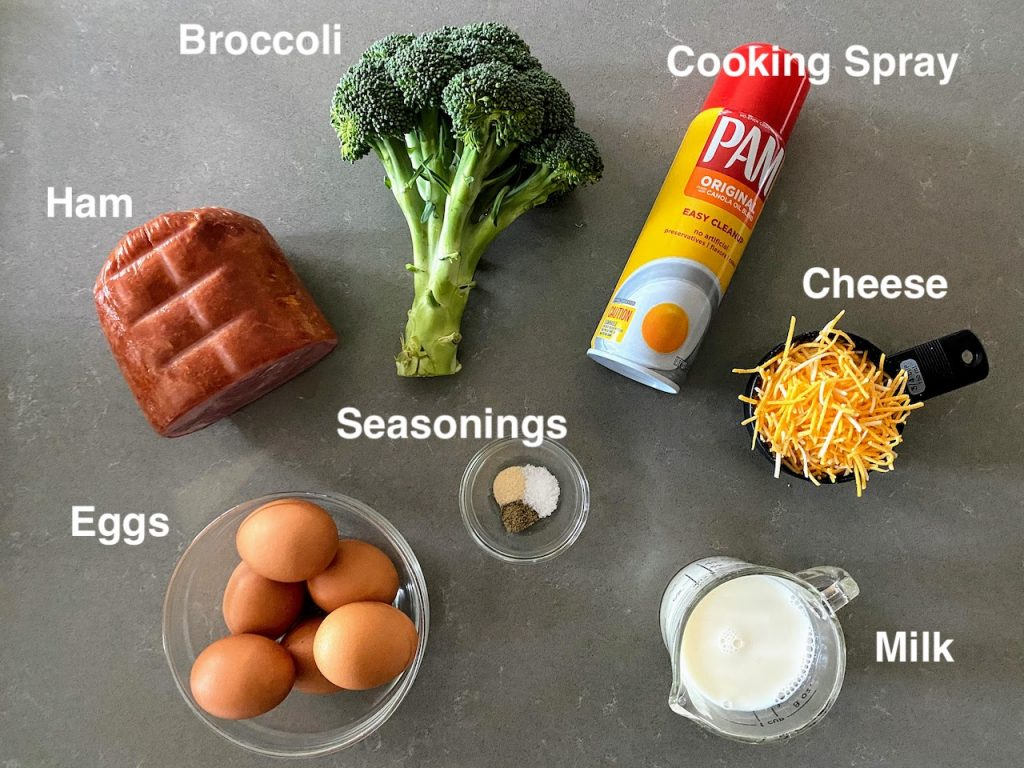 ingredients to make mini egg bites laid out on a counter