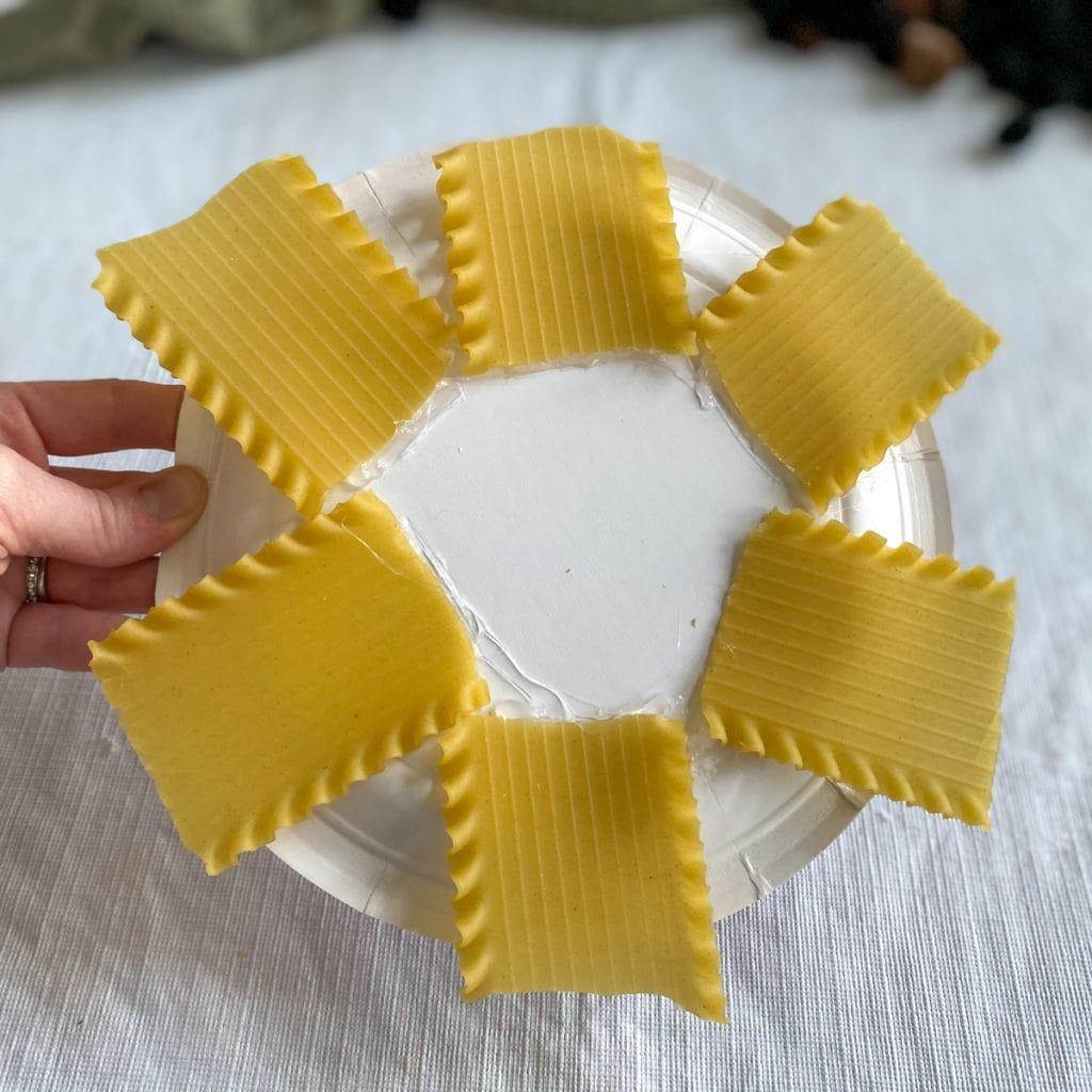 lasagna noodles glued onto edge of plate