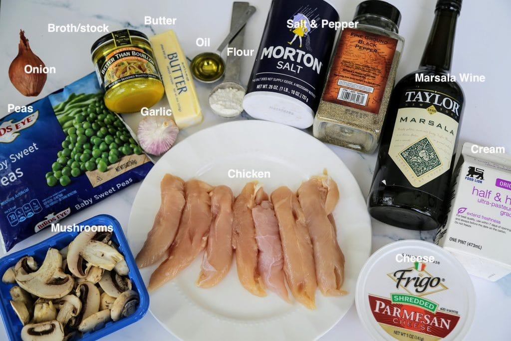 supplies for chicken marsala recipe