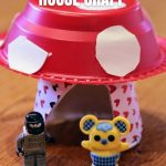 plastic bowl and paper cup turned into mushroom house