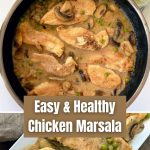 chicken marsala in pan and on plate with peas