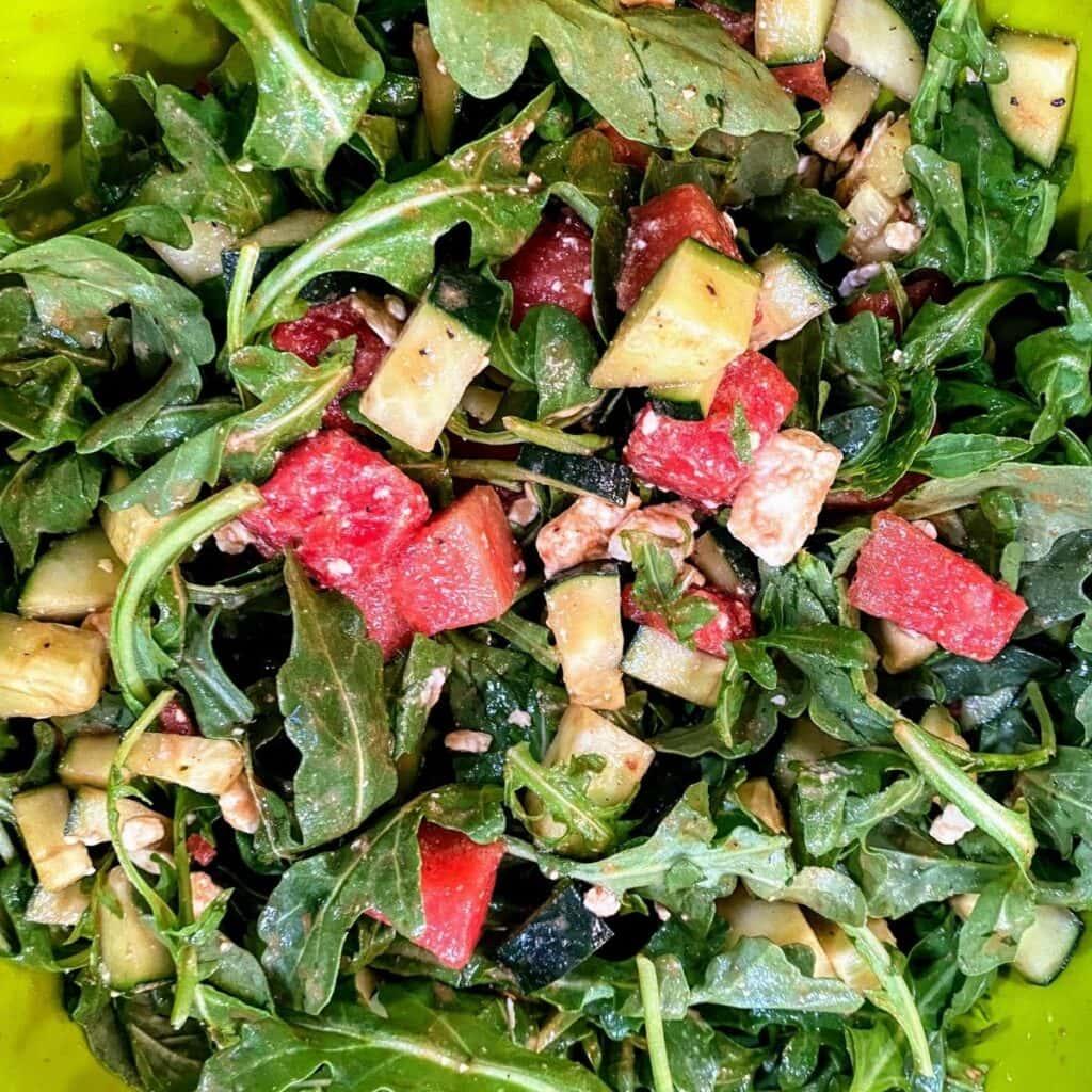 watermelon feta and chicken salad