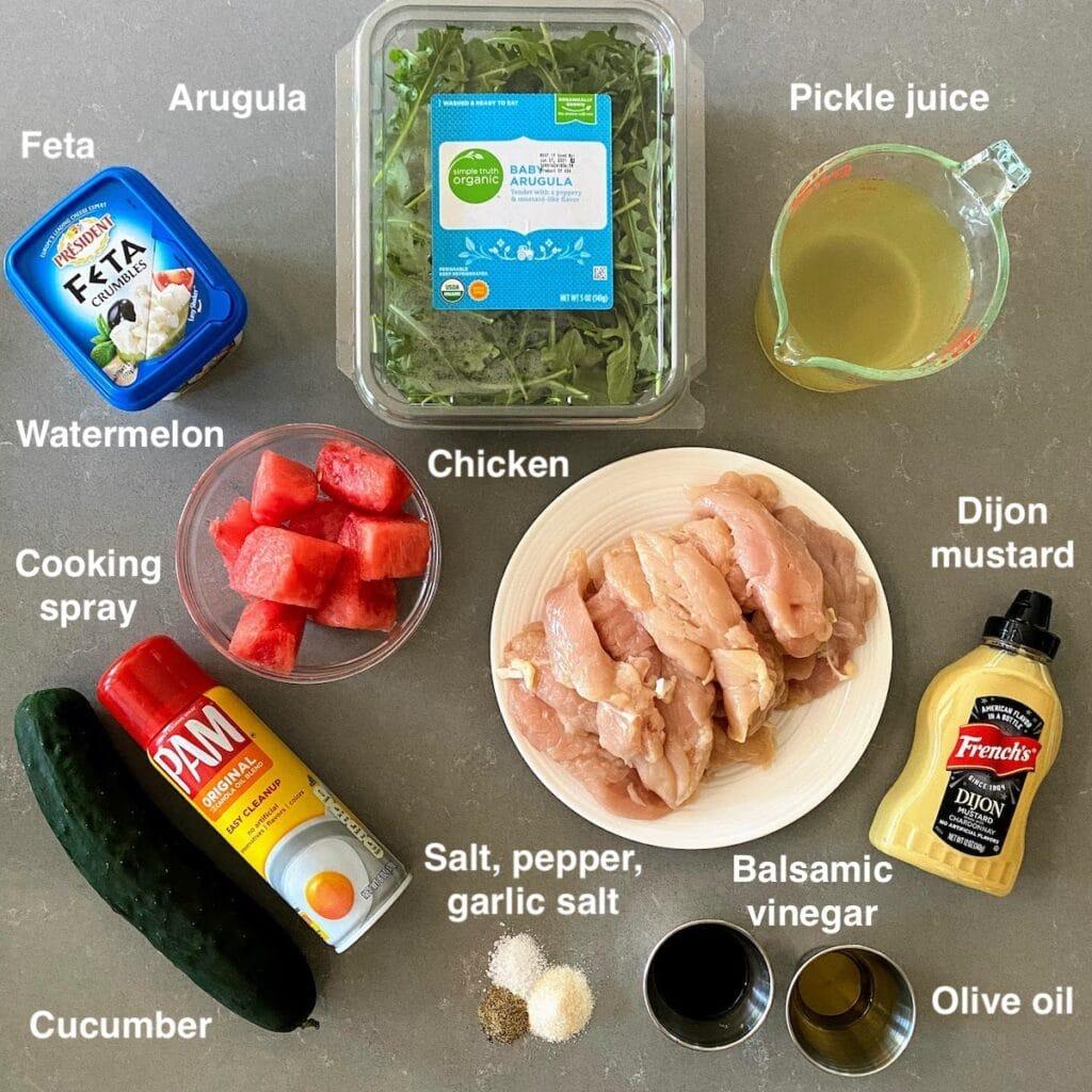 ingredients for watermelon chicken salad