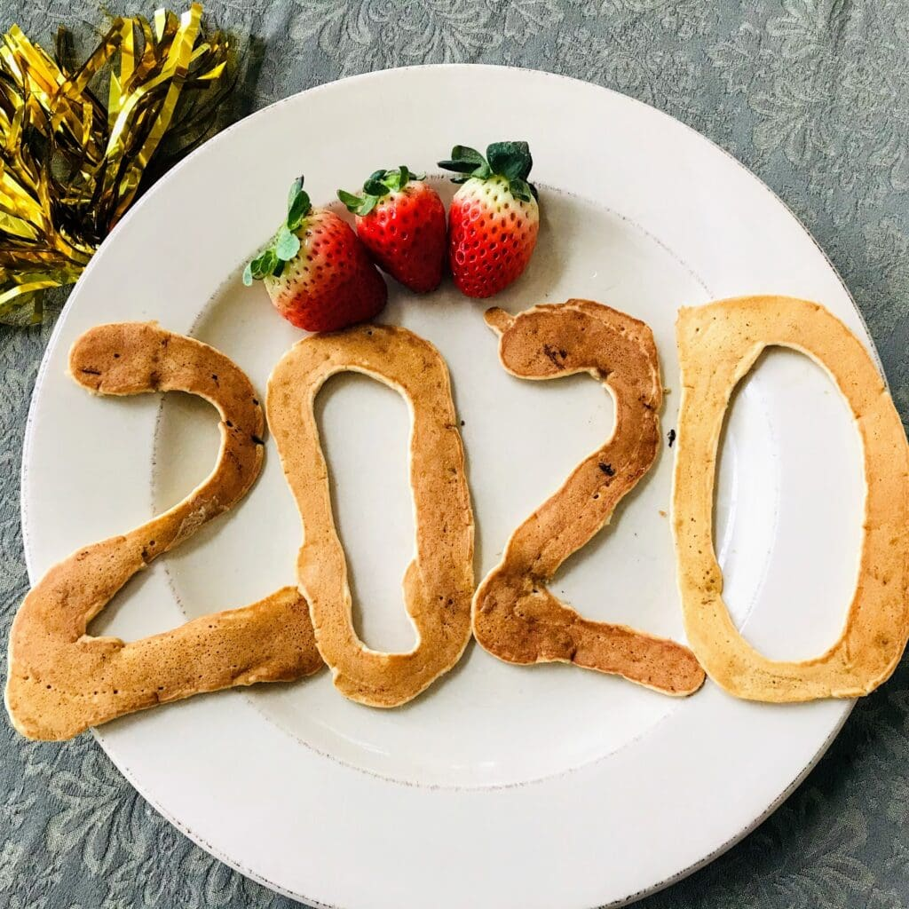 pancakes formed into number 2020