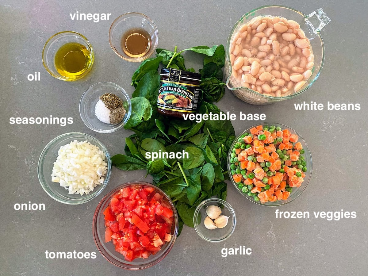 vegetables and other ingredients for italian white bean soup